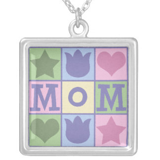 Mom Quilt Square Necklace