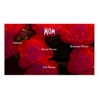 Mom Red Roses Business Card Template