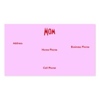 Mom Red Yellow Roses I Profile Card Business Card Templates