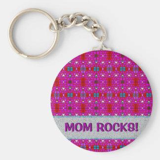 Mom Rocks Magenta Stained Glass Keychain