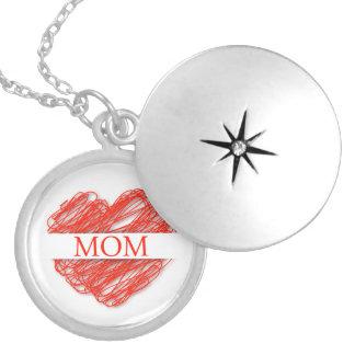 mom round locket necklace