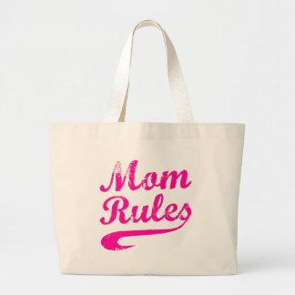 Mom Rules Funny Saying Tote Jumbo Tote Bag