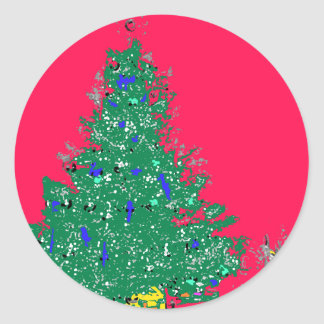 Mom's Christmas tree with bulbs on red XMAS20 Classic Round Sticker