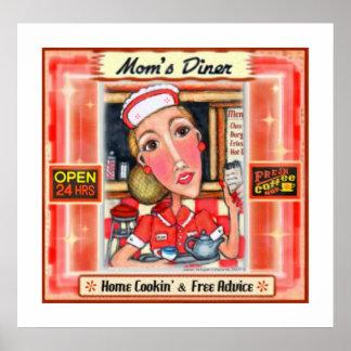 Mom s Diner Retro Kitchen Art Poster Print
