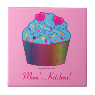 Mom s Kitchen Cupcake with Heart Ceramic Tile
