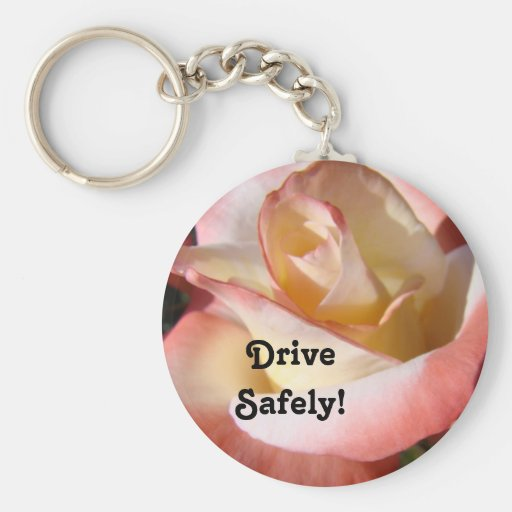 Mom said Drive Safely Key Chains Pink White Rose