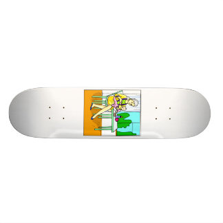 Mom sitting at table feeding baby graphic png skate boards