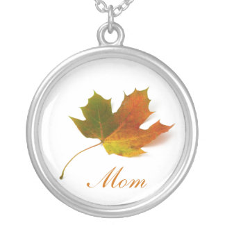 Mom, Solitary Maple Leaf Necklace