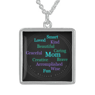 Mom Sterling Silver Necklace, Black