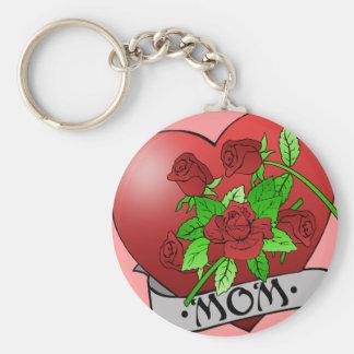 Mom Tattoo Basic Round Button Key Ring