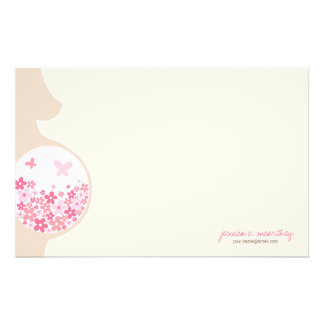 Mom To Be   Baby Girl Thank You Note Stationery