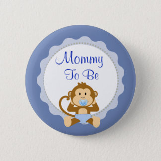 Mom to be Blue Monkey Baby Shower Button