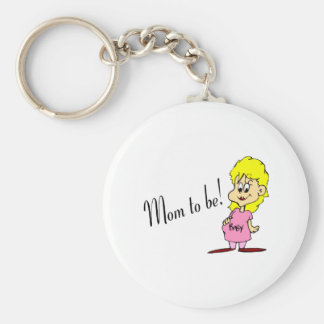 Mom To Be (Pregnant Woman) Basic Round Button Key Ring
