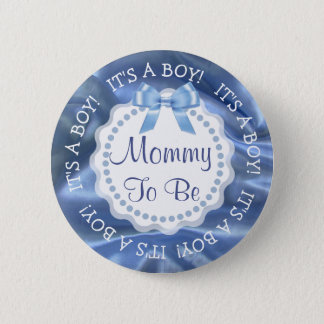 Mom to be Silk Satin Blue Announcement Button
