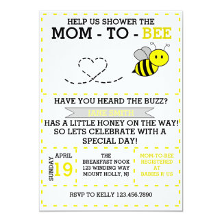 Mom-to-bee 13 Cm X 18 Cm Invitation Card