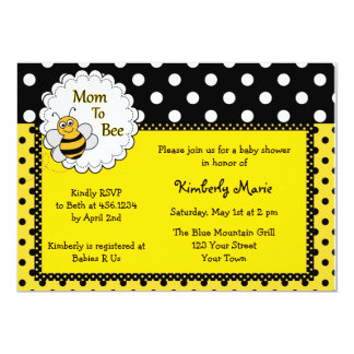 Mom To Bee Baby Shower Invitation