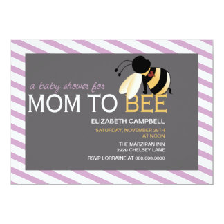 Mom-to-BEE Baby Shower Invitation - shabby orchid