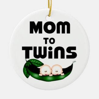 Mom to Twins (Peapod) Round Ceramic Decoration