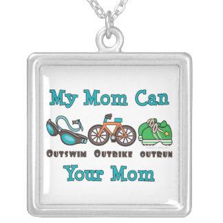 Mom Triathlon Sterling Silver Necklace