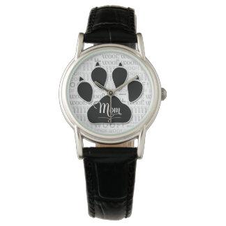 Mom Typography Black Dog Paw Print Watch