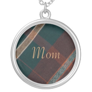 Mom, Vintage Green Brown Plaid Necklace