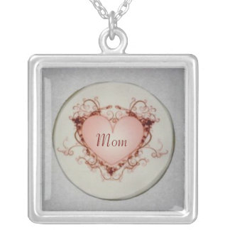 Mom Vintage Heart Square Pendant Necklace