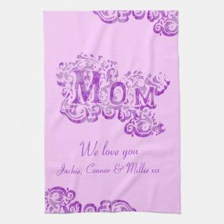 Mom we love you mauve kitchen towel