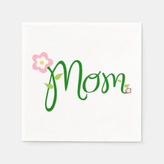 Mom White Standard Cocktail Napkin Paper Napkins