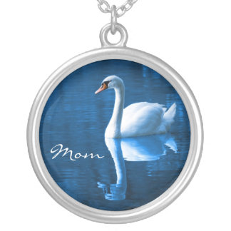 Mom, White Swan on Blue Waters Necklace