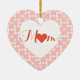 Mom with Pink Four Leaf Clover Hearts Ceramic Ornament