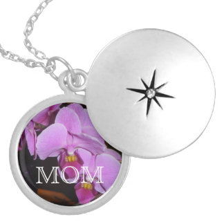 """""""Mom"""" with purple orchid Personalized Necklace"""