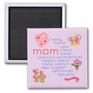 Mom Word Cloud--Decorated Magnet