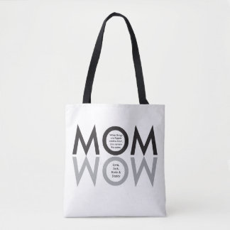 """MOM, WOW, custom, mother's day gift, """"from kids"""" Tote Bag"""