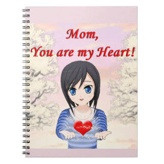 Mom, You are my Heart (Customizable) Spiral Note Books