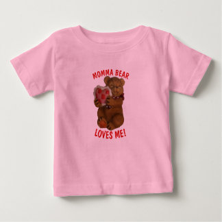 Momma Bear Loves Me Teddy and Heart Baby T-Shirt