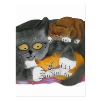 Momma  Cat and her Two Kittens Postcard