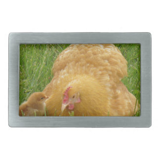 Momma chicken and baby chick belt buckles
