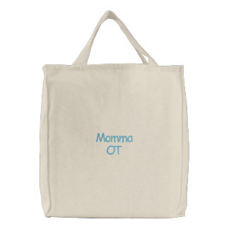 Momma OT Bag in Blue Embroidered Tote Bag