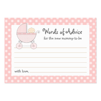 Mommy Advice Card Baby Shower Carriage   Pink Pack Of Chubby Business Cards