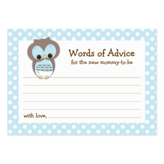 Mommy Advice Card Owl Baby Shower | Blue Pack Of Chubby Business Cards