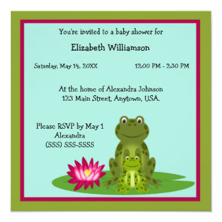 Mommy and Baby Frog Theme Baby Shower Card