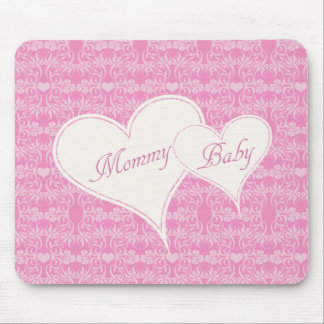 Mommy and Baby Hearts Together Damask Mousepad