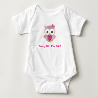 Mommy and I are a Hoot! Pink Owl Baby Romper Baby Bodysuit