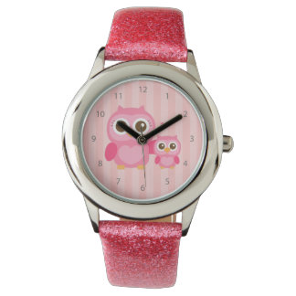Mommy and Me, Cute Baby Owl, Pink Watch