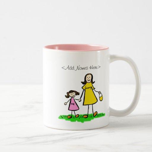 Mommy and Me Little Girl (Brunette - Custom Names) Coffee Mug