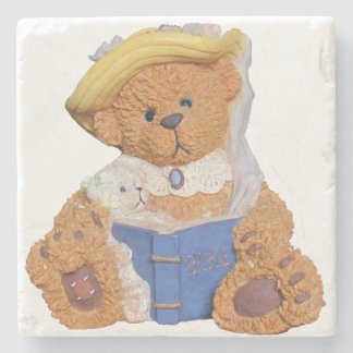 Mommy Bear Reads To Baby Stone Beverage Coaster