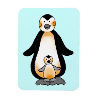 Mommy/daddy and baby penguin, baby shower rectangular photo magnet