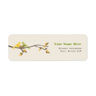 Mommy & Daddy Birds Neutral Fall Baby Shower Return Address Label