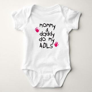 Mommy & Daddy do my ADLs pink handprint OT baby Baby Bodysuit