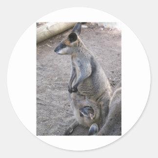 Mommy Kangaroo Classic Round Sticker